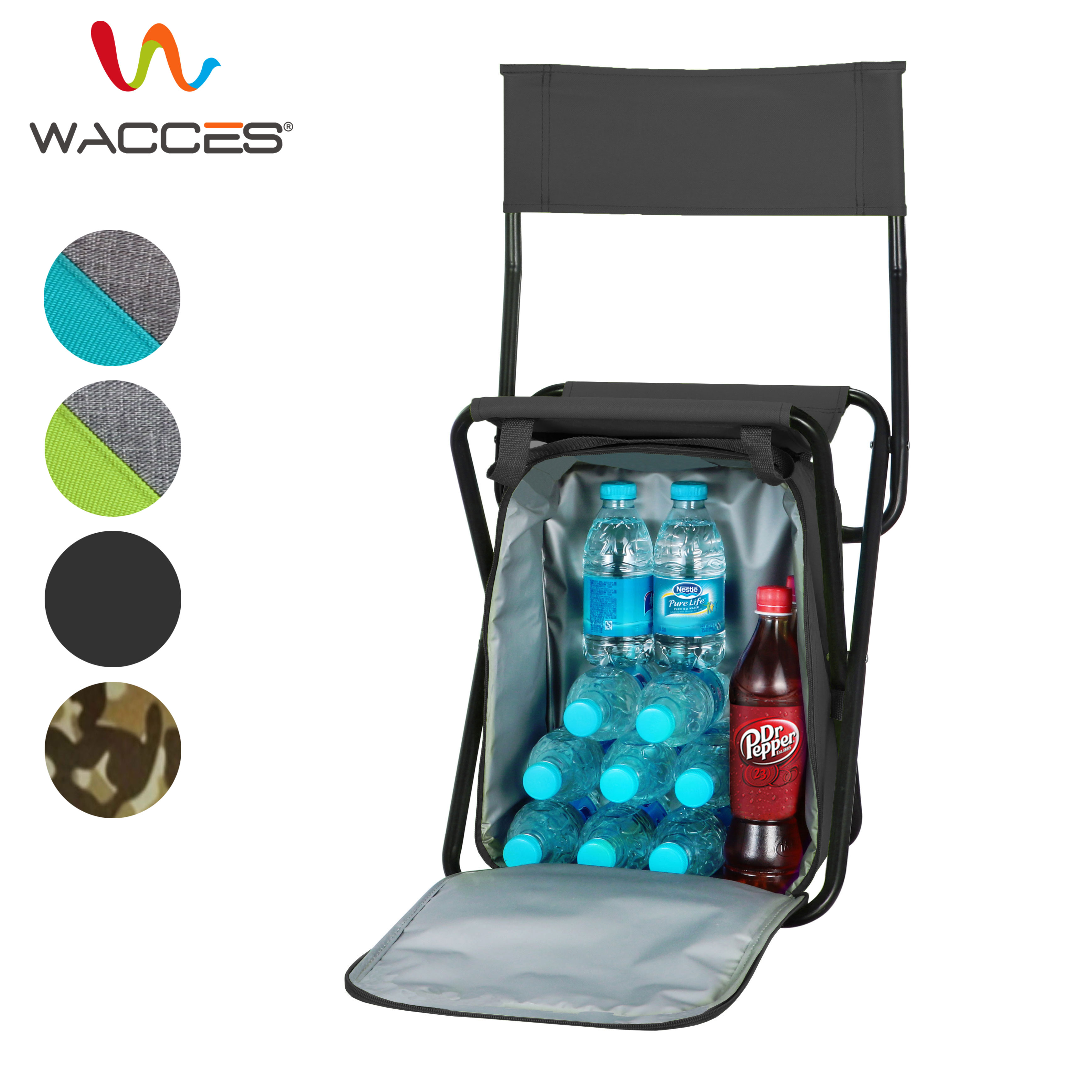 fishing cooler chair modern armchairs nz wacces multi purpose backpack stool with bag for hiking camping picnicking black walmart com