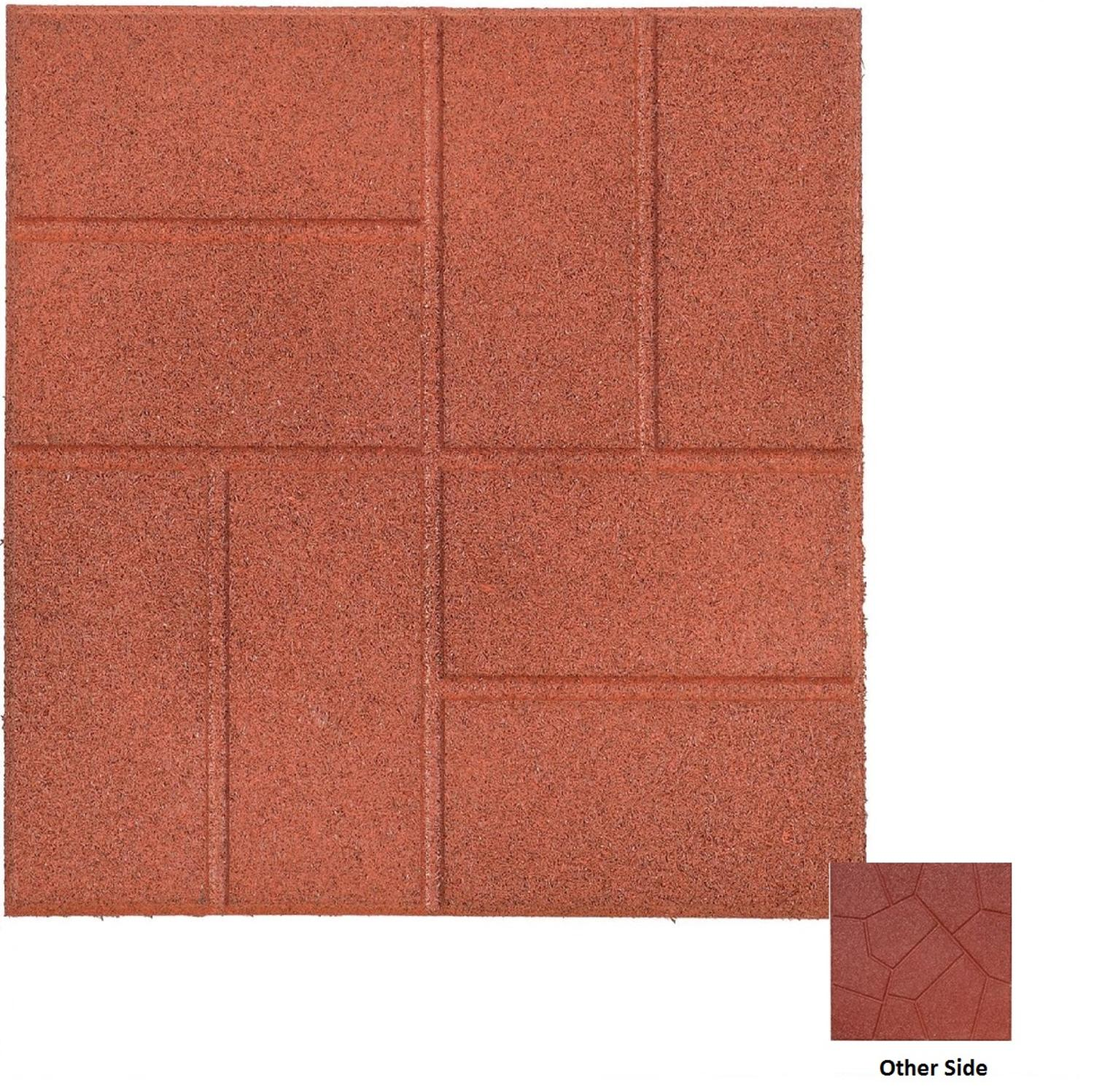 16 x 16 dual sided mahogany red recycled rubber paver squares for outdoor patios and decks