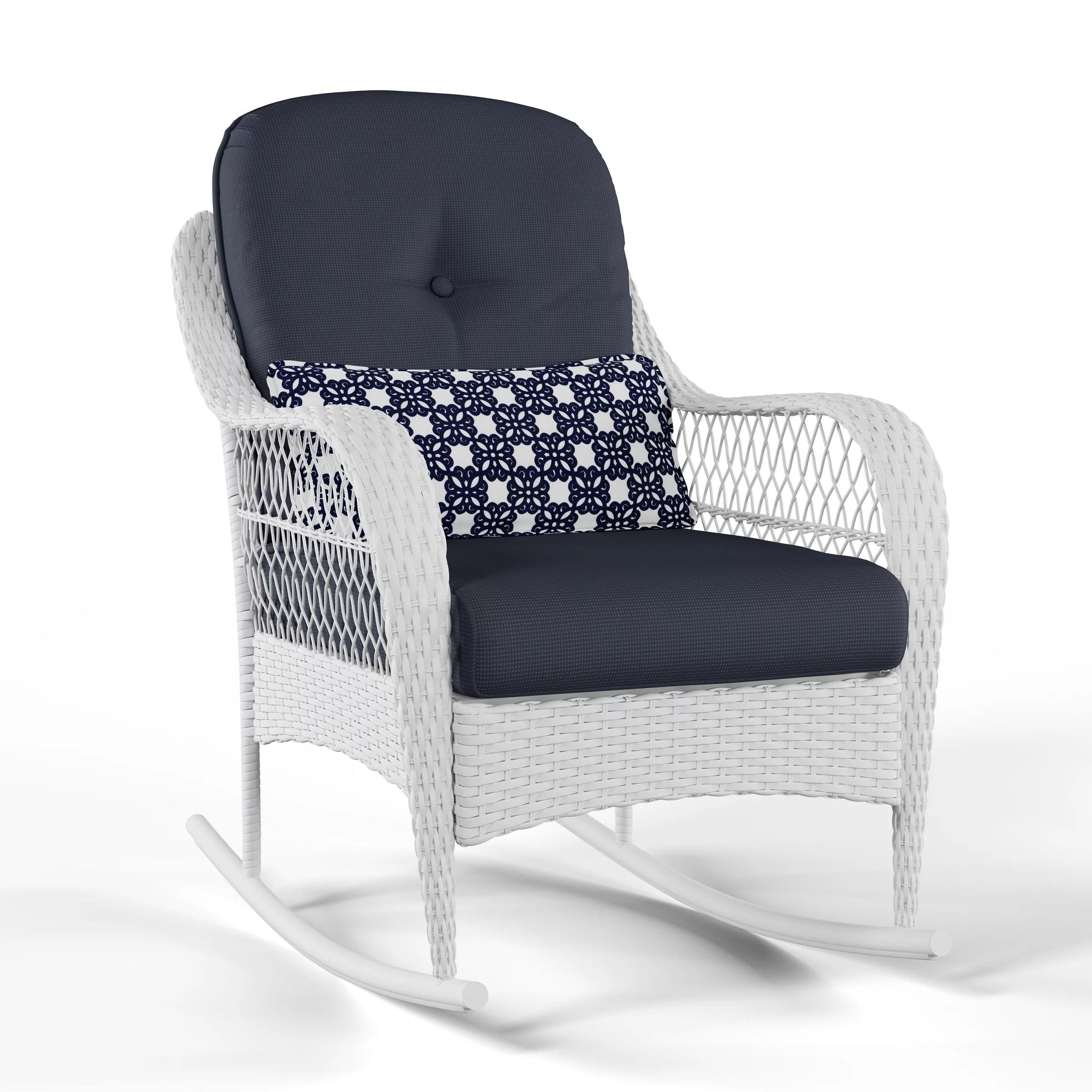 better homes gardens azalea ridge outdoor rocking chair blue