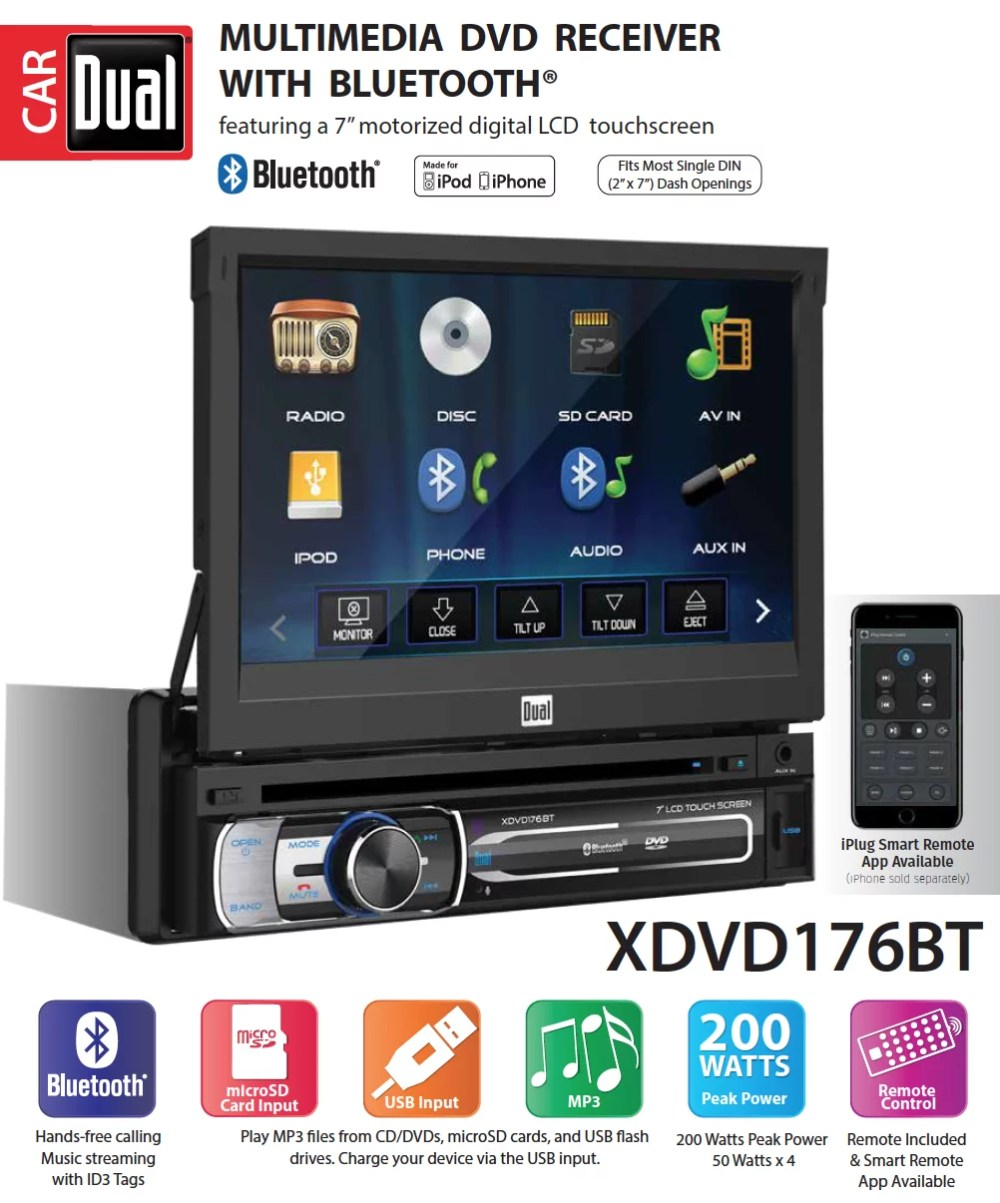 medium resolution of  led backlit lcd multimedia retractable detachable touch screen single din car stereo with built in bluetooth iplug cd dvd player usb microsd ports