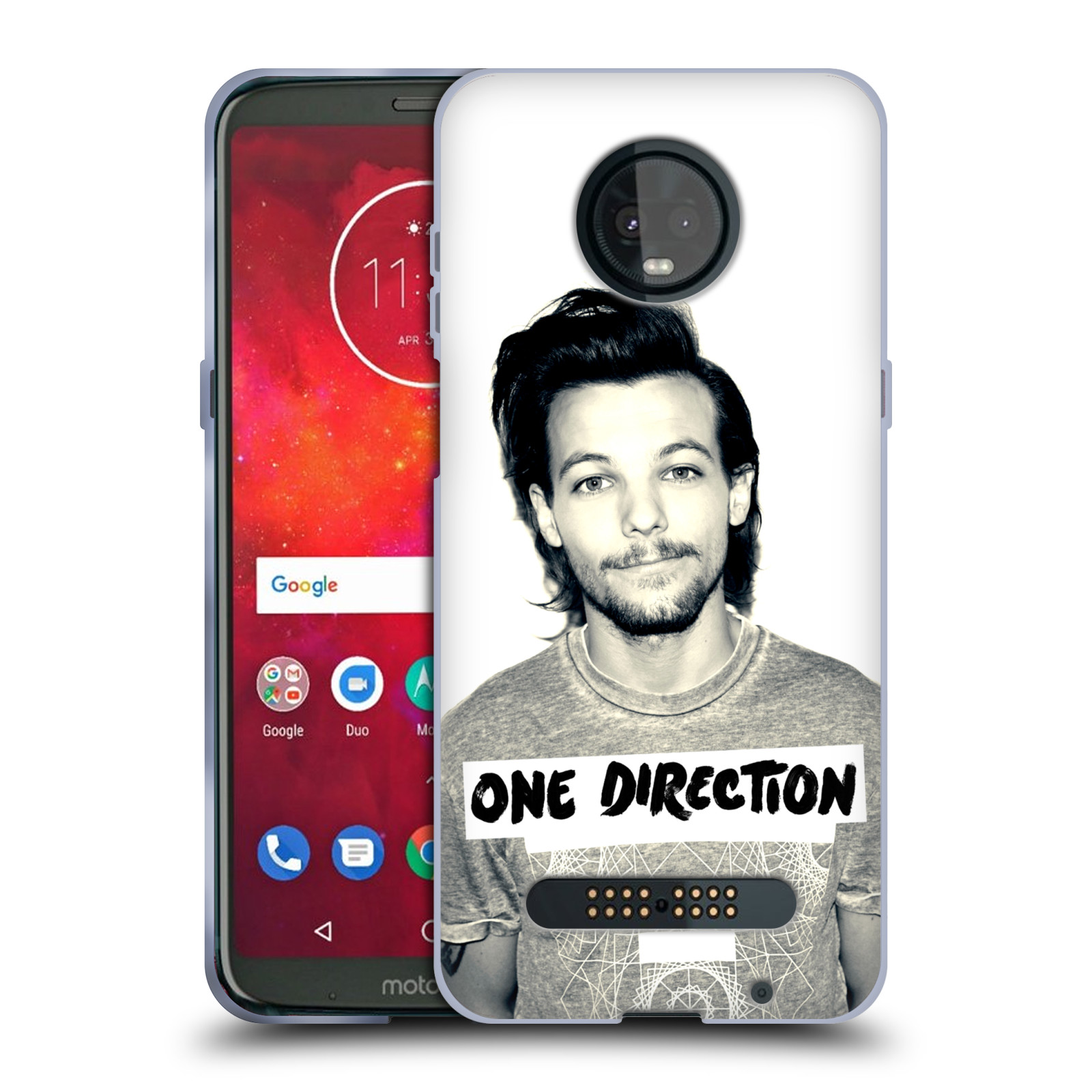 hight resolution of official one direction louis filter soft gel case for motorola phones