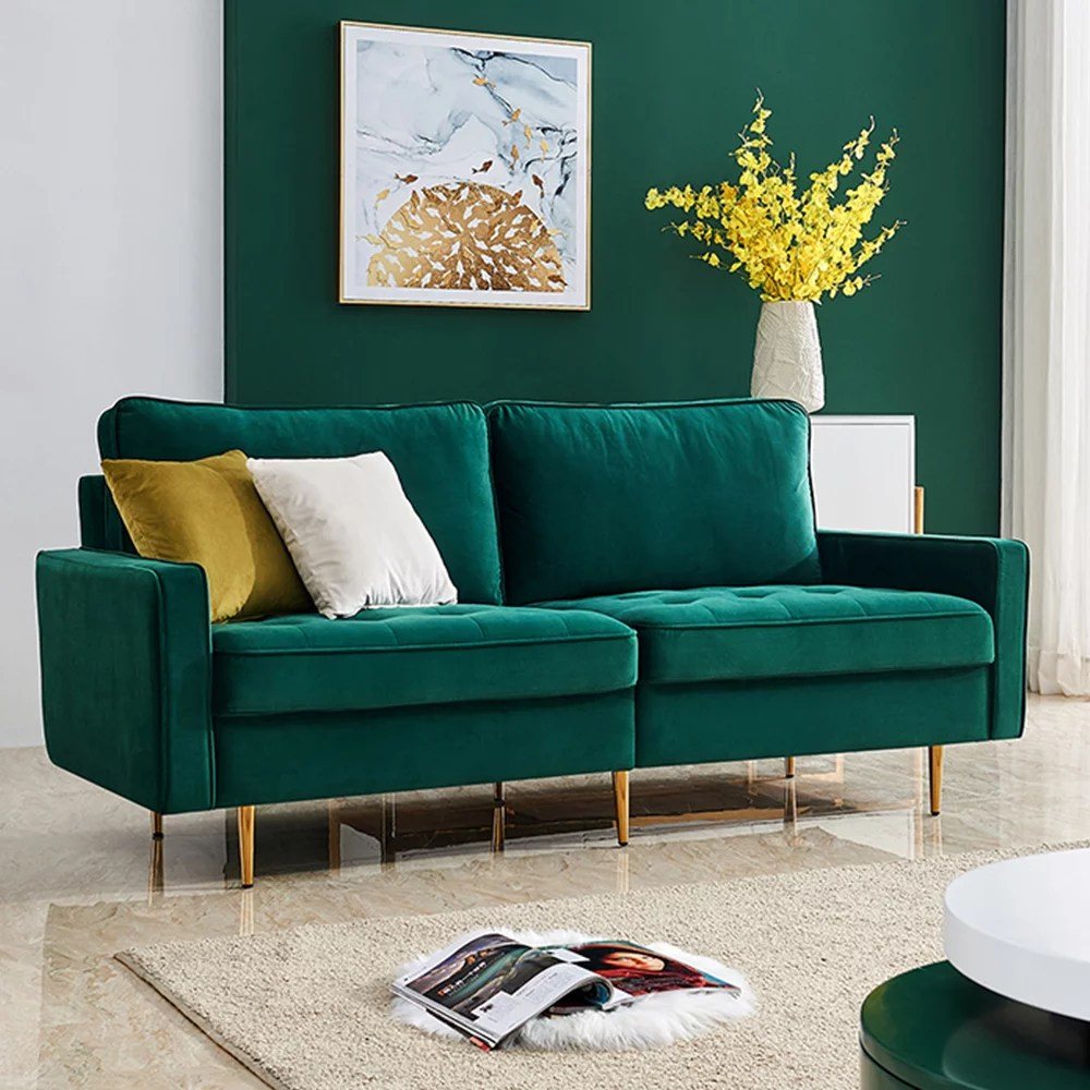mid century sectional sofa couch upholstered couch with metal legs high end velvet fabric modern couches and sofas with 2 soft pillows loveseat