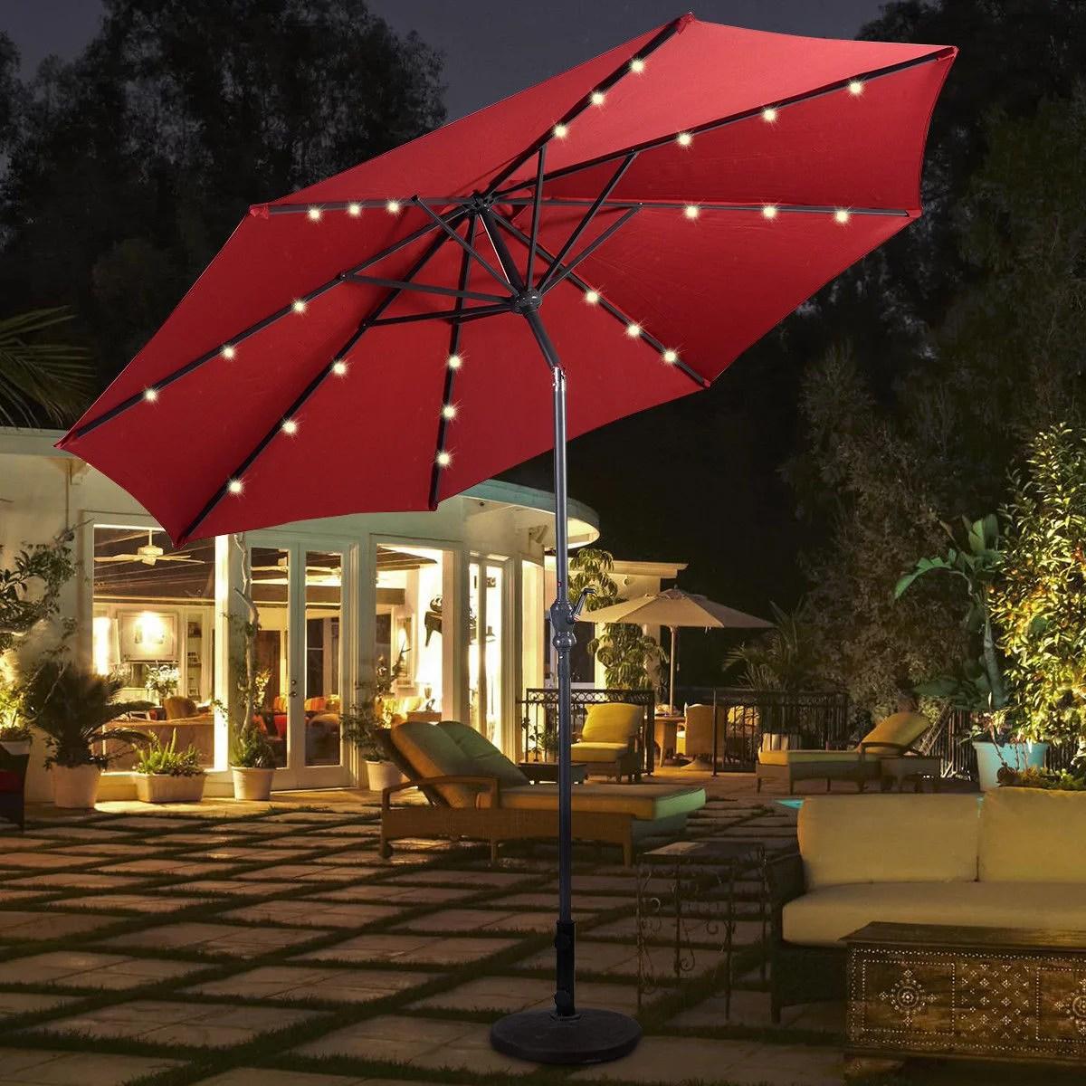 costway 10ft patio solar umbrella led patio market steel tilt w crank burgundy walmart com