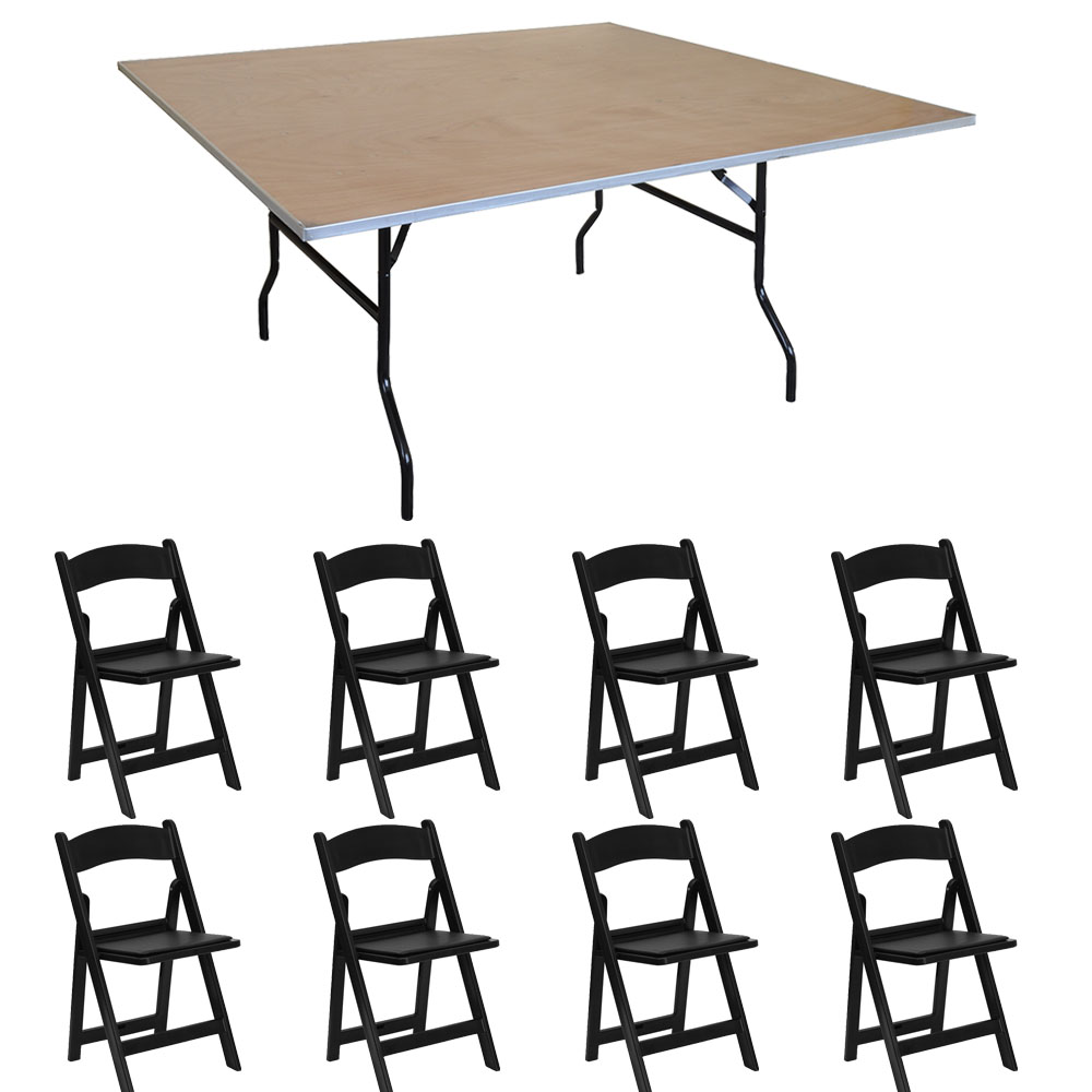 walmart resin chairs brown armless chair pogo 48 square wood banquet folding table and 8x solid