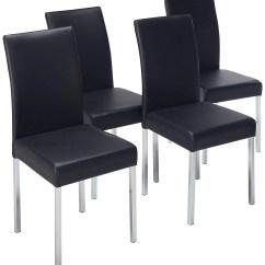 Black Parsons Chair Walking Stick Argos Leina Kitchen Dining Chairs Vinyl Chrome Metal Legs Contemporary Set Of Four Walmart Com