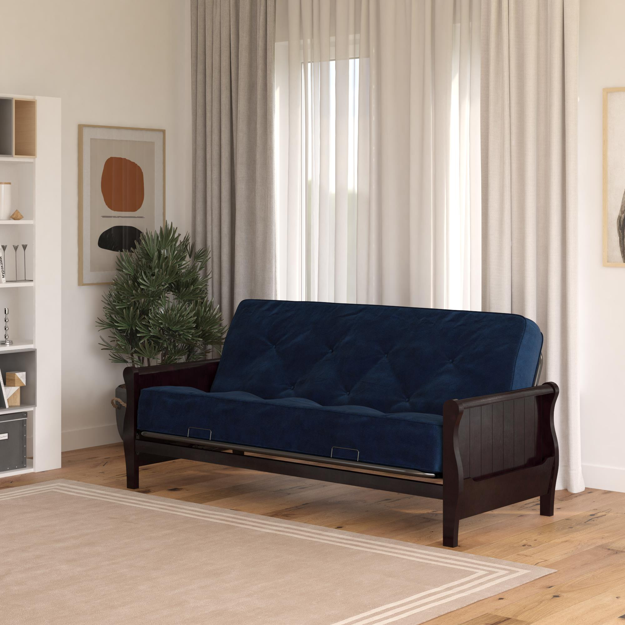 dhp wood arm futon with espresso finish and 8 coil mattress navy linen