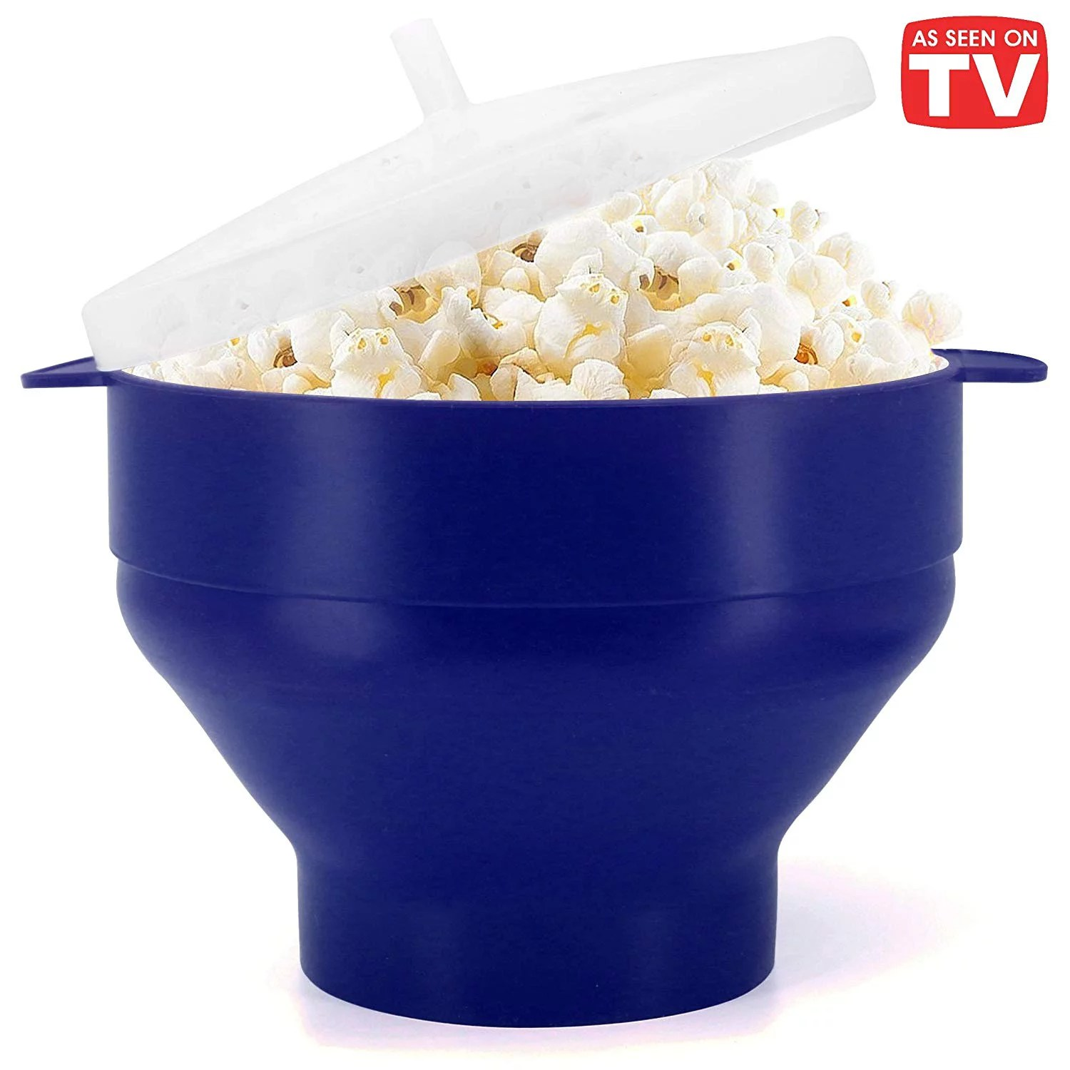 microwave popcorn popper bpa free silicone hot air microwavable popcorn maker bowl blue