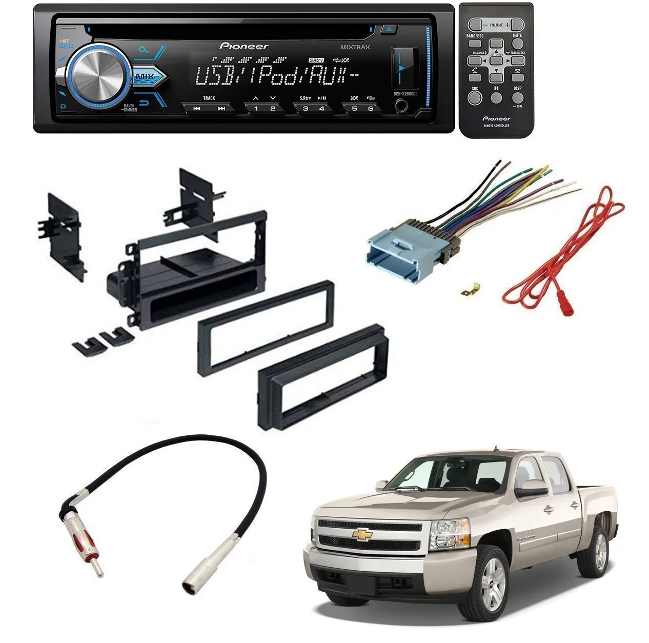 hight resolution of chevrolet 2003 2006 silverado 1500 car stereo dash install mounting kit wire harness radio antenna w pioneer deh x2900ui single din in dash cd receiver