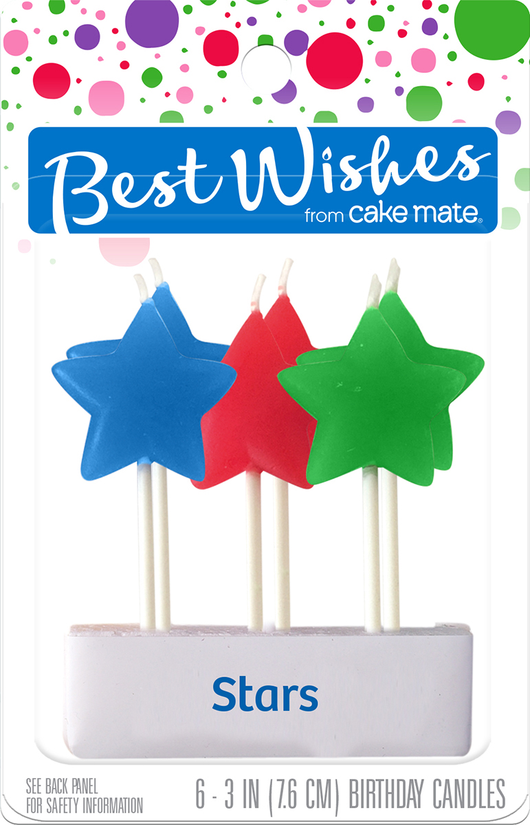 Best Wishes By Cake Mate Birthday Candles 6PkgStar Light