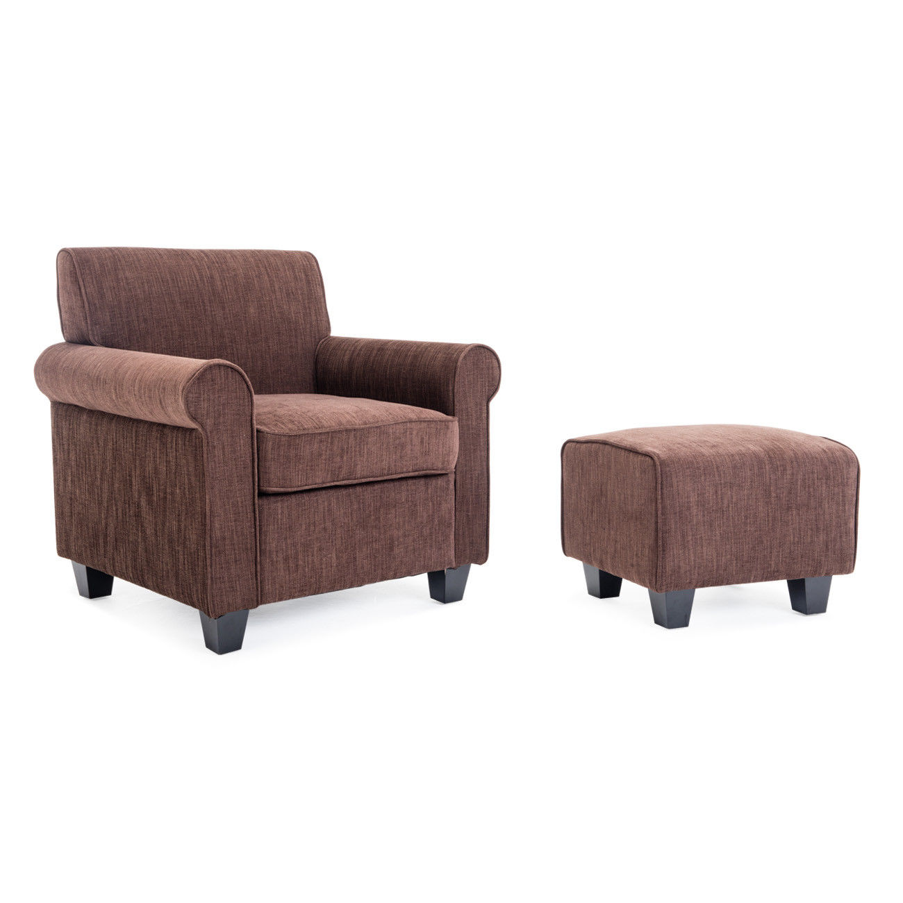 brown accent chair with ottoman outdoor chairs for front porch ghp wood frame upholstered polyester fabric furniture set