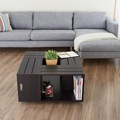 rustic square crate style wood like coffee table with open shelf and storage in espresso these coffee tables offer convenience