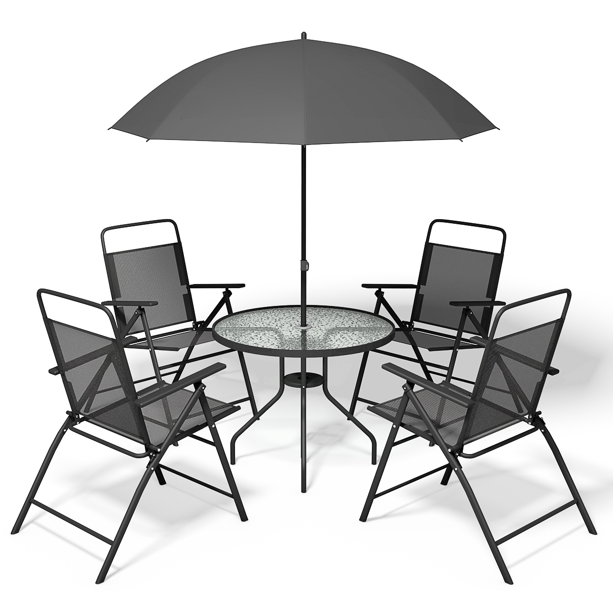 Table With Chairs Costway 6 Pcs Patio Garden Set Furniture Umbrella Gray With 4 Folding Chairs Table