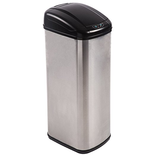 trash can kitchen hotels with in orlando bestoffice 13 gallon touch free sensor automatic stainless steel 13g walmart com