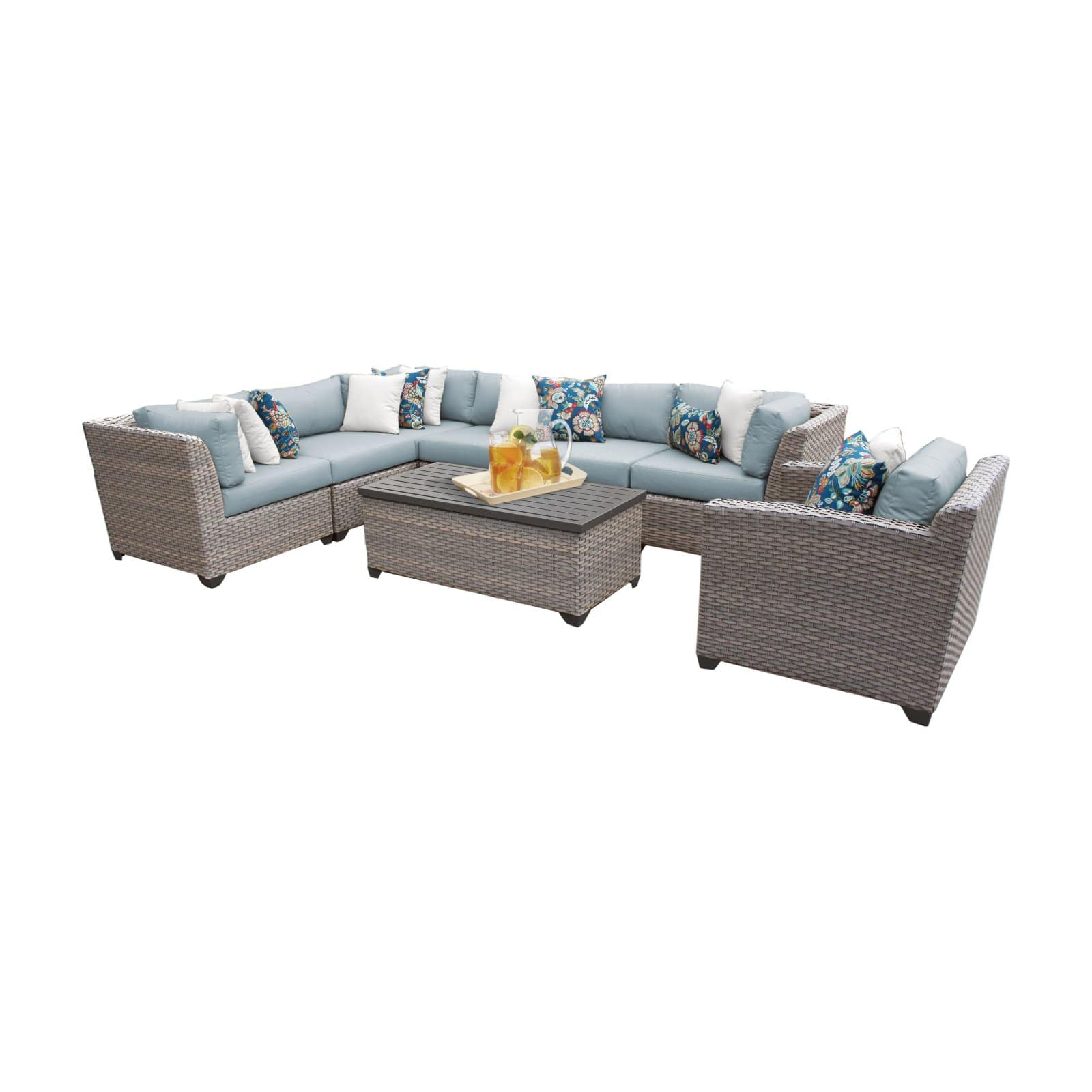 tk classics florence wicker 8 piece patio conversation set with club chair and 2 sets of cushion covers