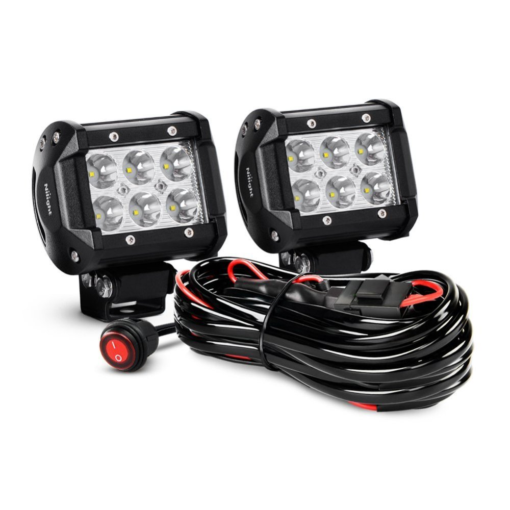 medium resolution of nilight zh009 4 18w spot bar led work fog driving lights with off road wiring harness 2 piece walmart com