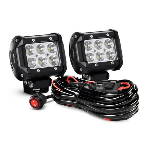 small resolution of nilight zh009 4 18w spot bar led work fog driving lights with off road wiring harness 2 piece walmart com