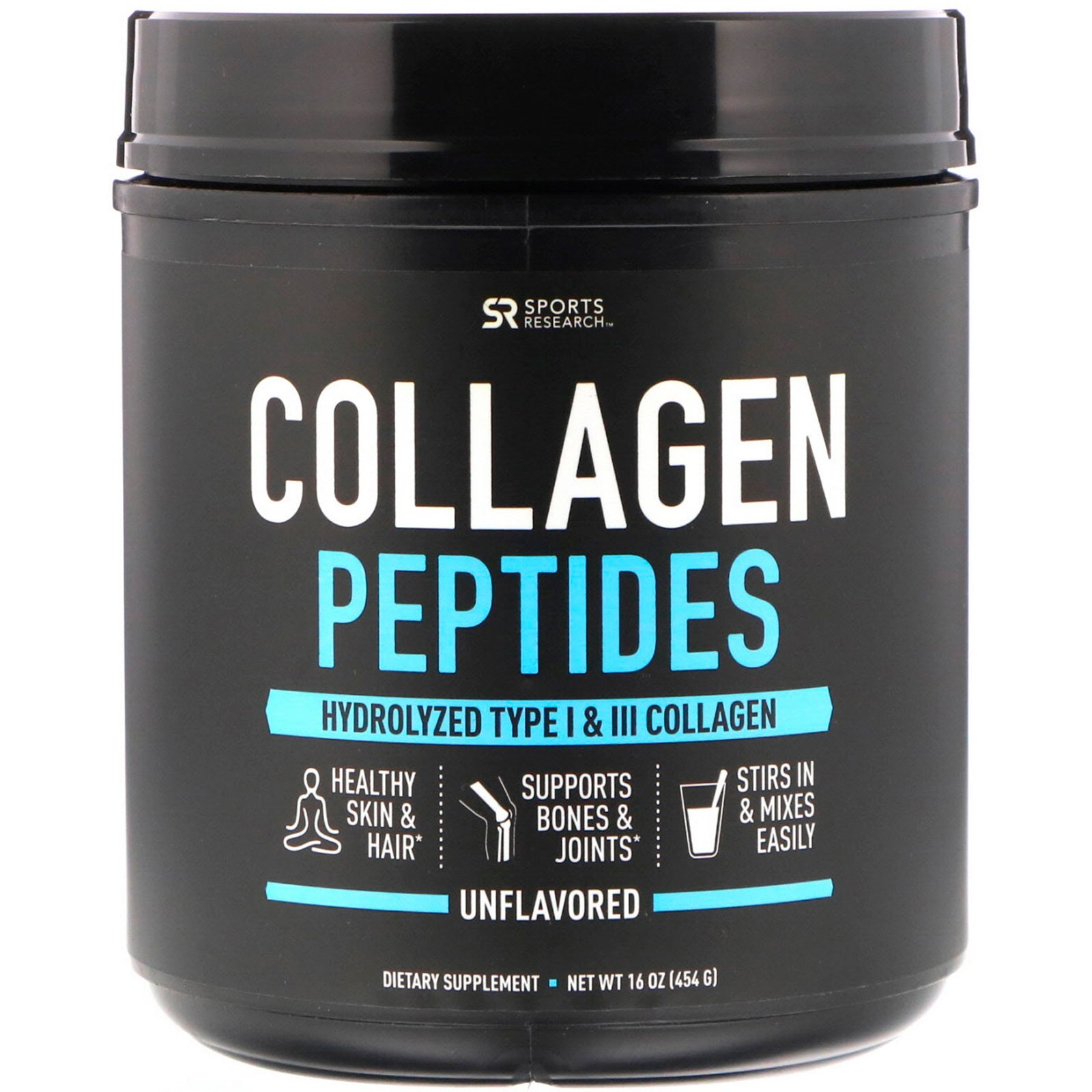Sports Research Collagen Peptides, Unflavored, 16 oz (454 g)