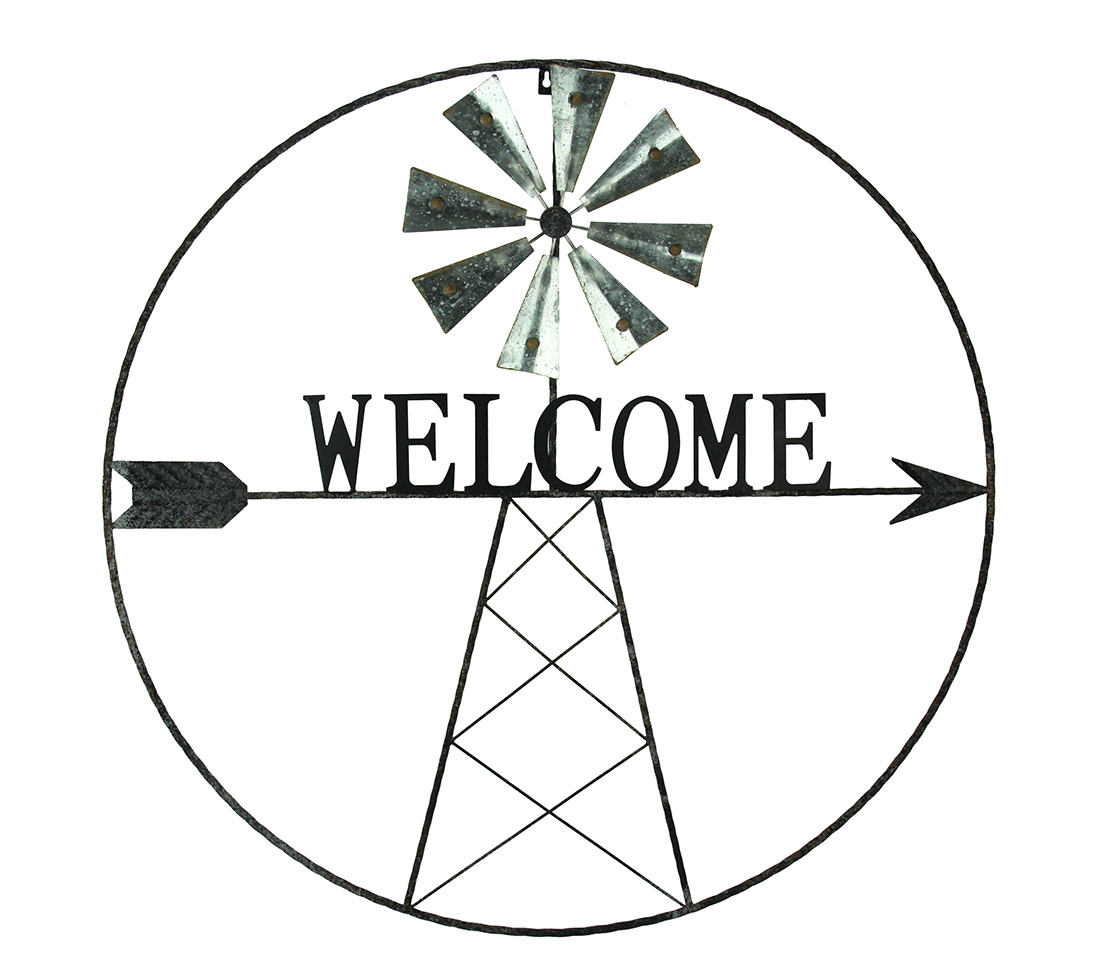 Rustic Metal Windmill Welcome Sign Farmhouse Wall Decor