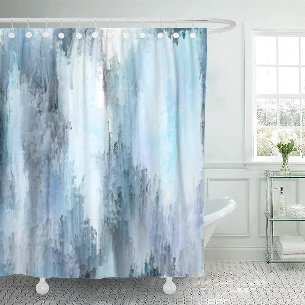 pknmt brush blue and black abstract digital painting canvas expressionism modern bathroom shower curtains 60x72 inch walmart com