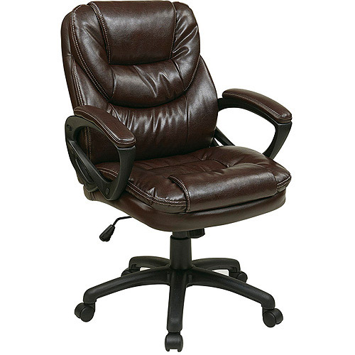 walmart leather office chair Office Star Faux-Leather Manager's Office Chair with Padded Arms - Walmart.com