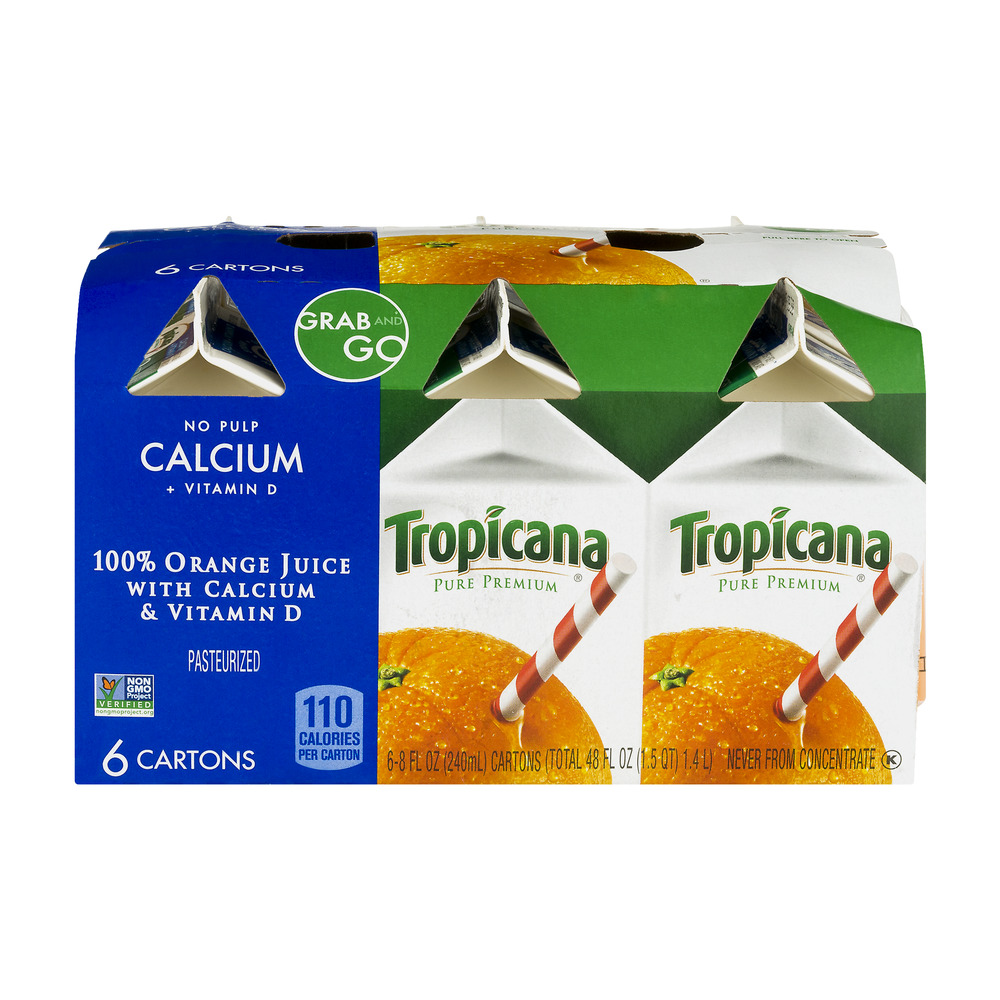 Tropicana Orange Juice No Pulp Calcium Vitamin D 6 CT