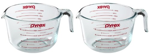 Pyrex Prepware 2Quart Measuring Cup Clear with Red
