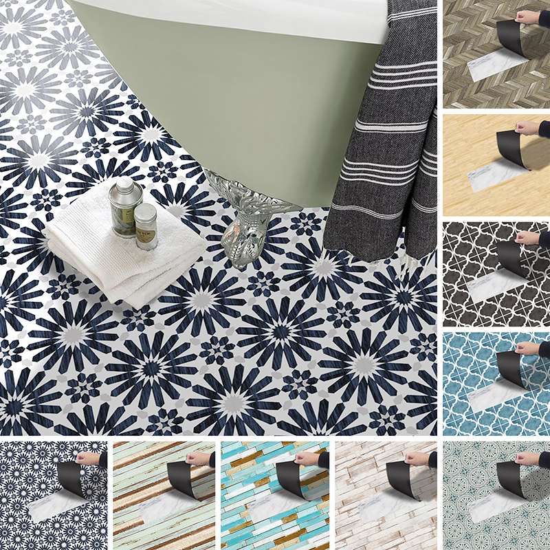 goory 3m retro wood pattern floor tiles stickers removable tile backsplash self adhesive wall tile stickers decals