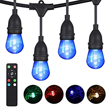52 5ft rgbw led outdoor string lights color changing dimmable 26 shatterproof bulbs 2 spare waterproof led patio lights backyard lights with