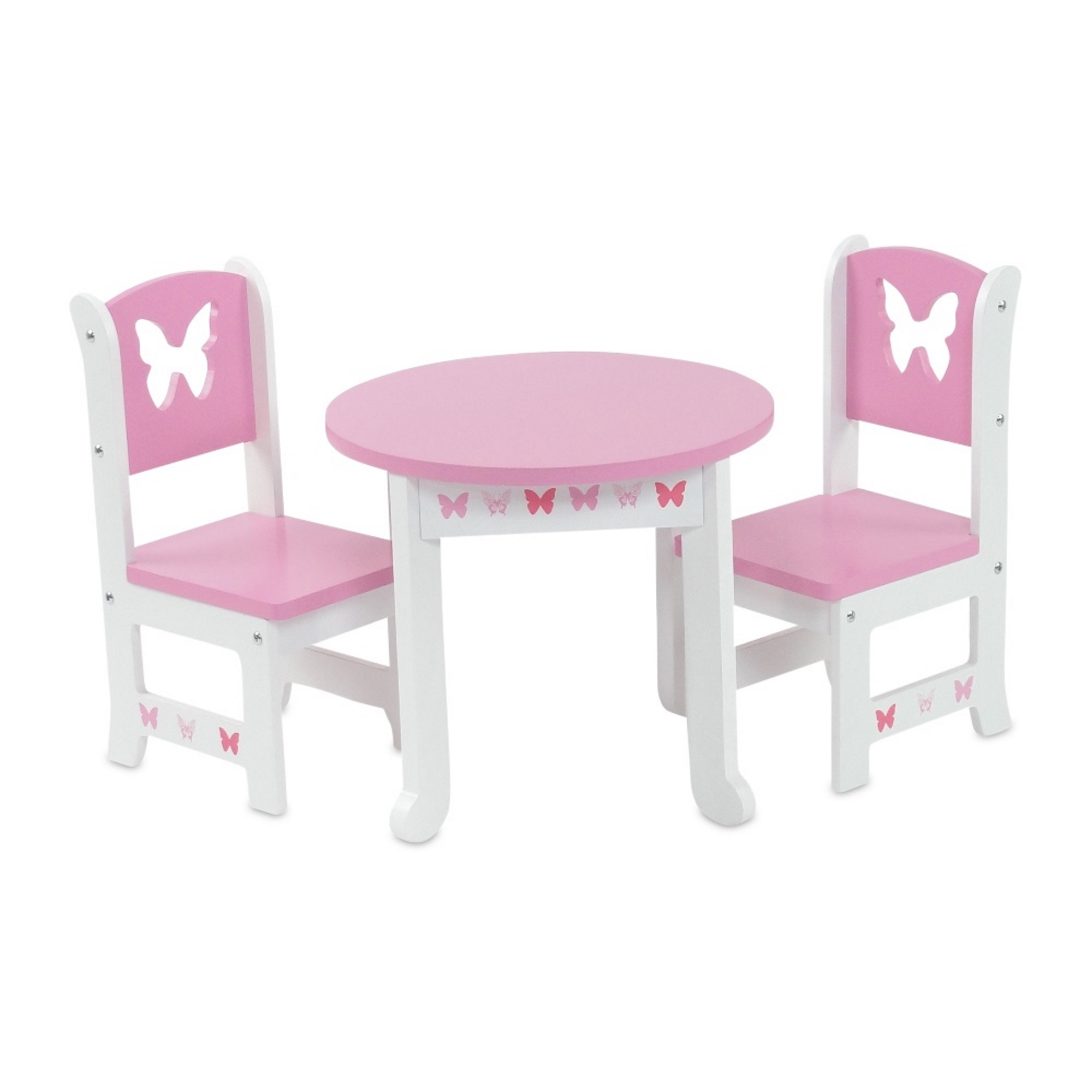 18 doll table and chairs chair covers for sale wholesale inch furniture lovely pink white 2 dining set with beautiful butterfly motif fits american girl dolls walmart com