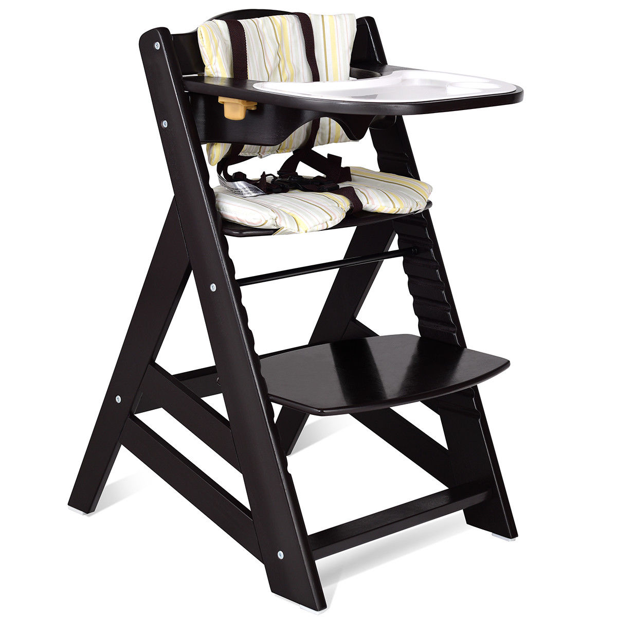 height adjustable high chair baby hammock stand indoor costway toddler wooden highchair dining w removeable tray walmart com