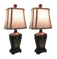 Coastal Blue and Brown Woodgrain Finish Table Lamp Set of ...