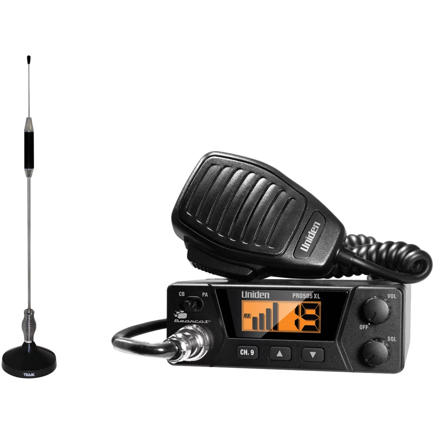 hight resolution of uniden pro505xl 40 channel bearcat compact cb radio and tram 703 hc center load cb antenna kit walmart com