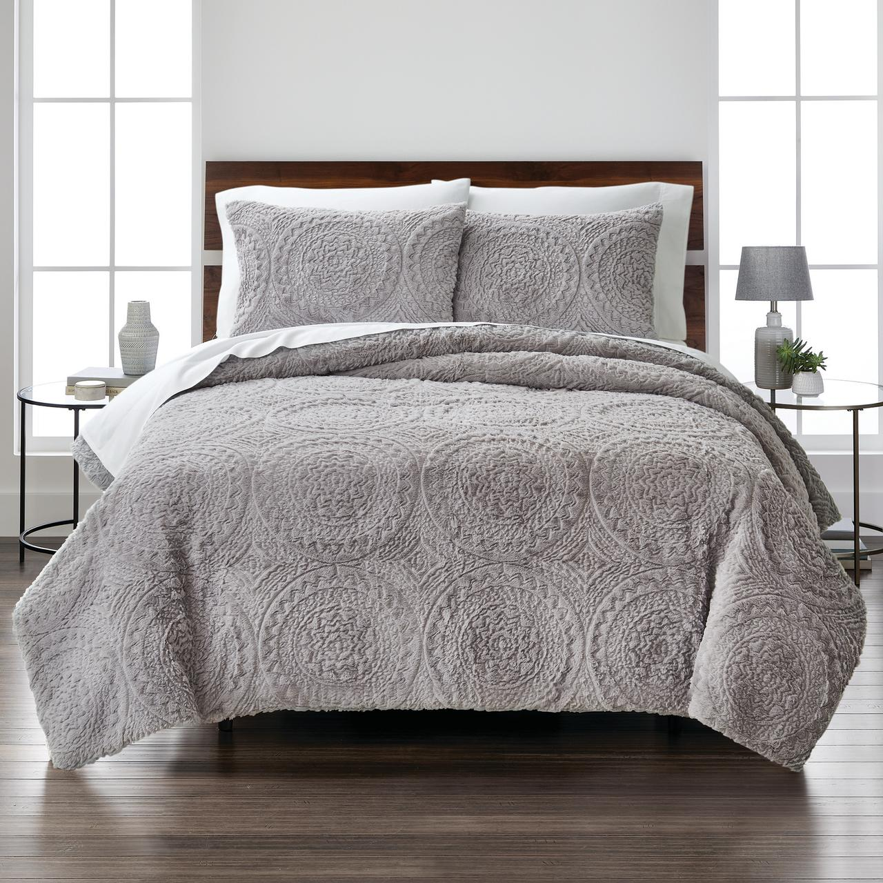 better homes gardens embroidered faux fur 3 piece comforter set king grey
