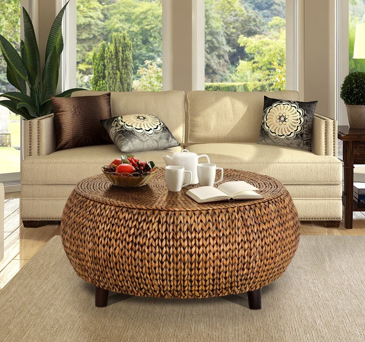 low round accent coffee table gold patina