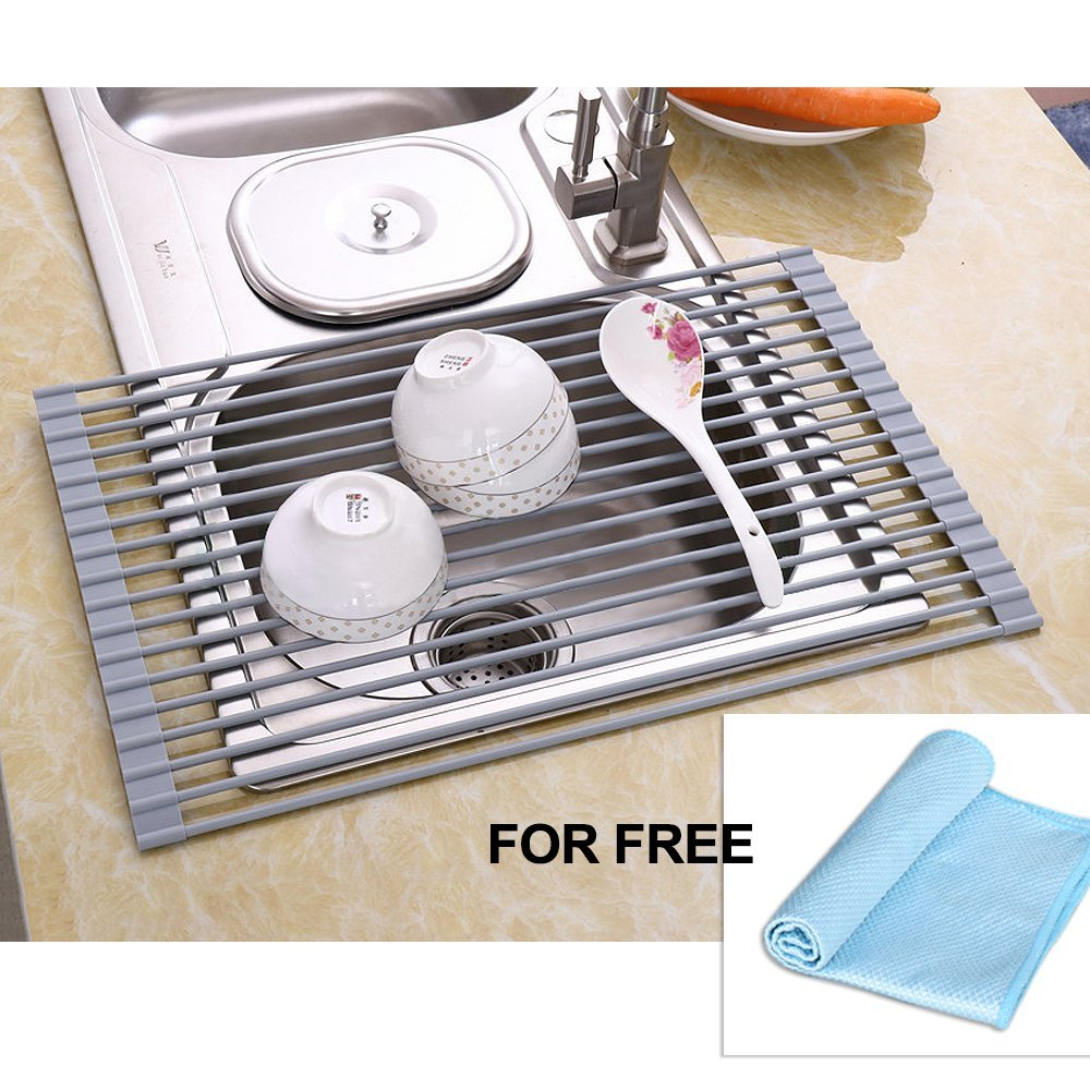 kitchen drying rack shaker style nex over the sink dish multifunctional foldable mat free cloth