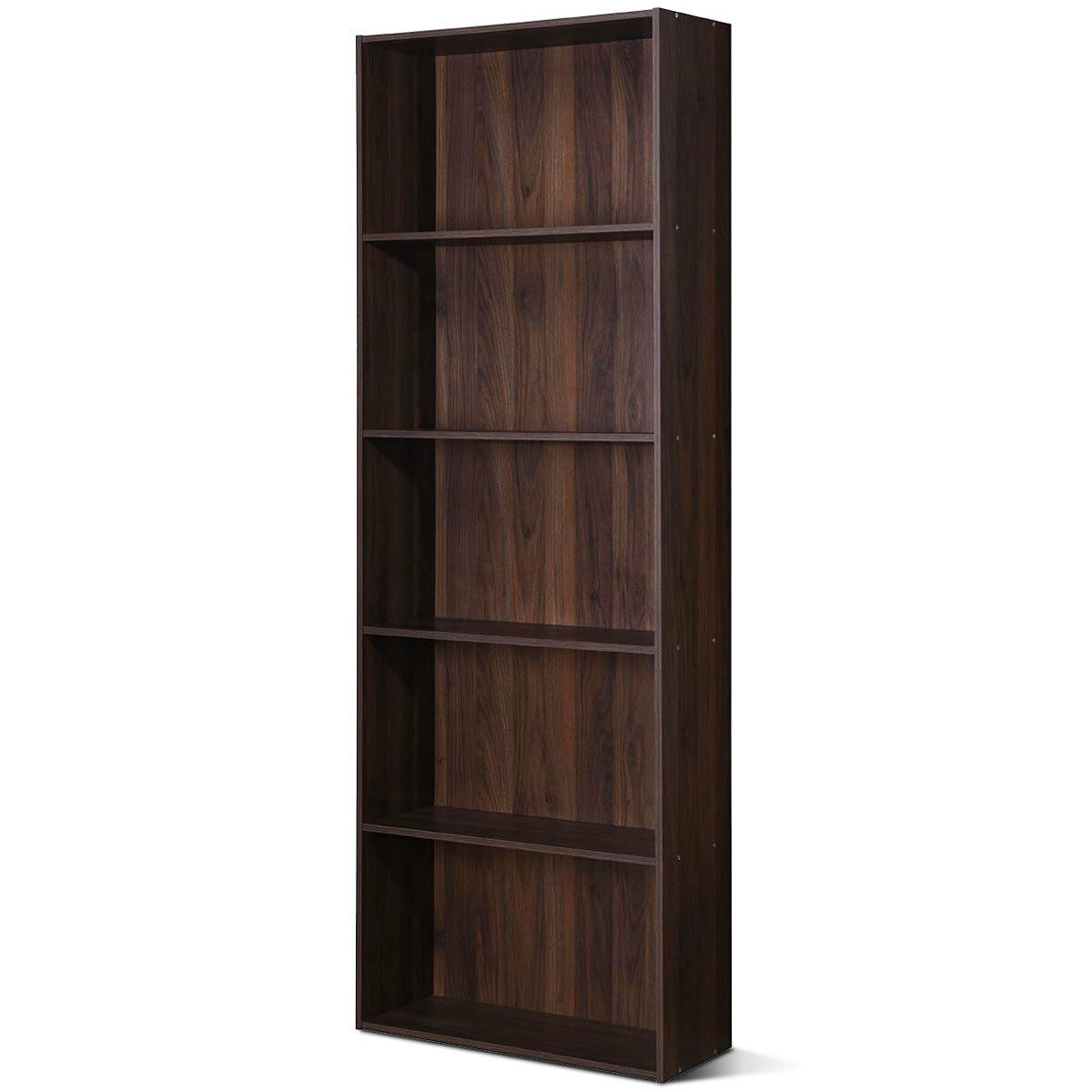 5 Shelf Storage Bookcase Stand Modern Multi Functional Display Cabinet Walnut