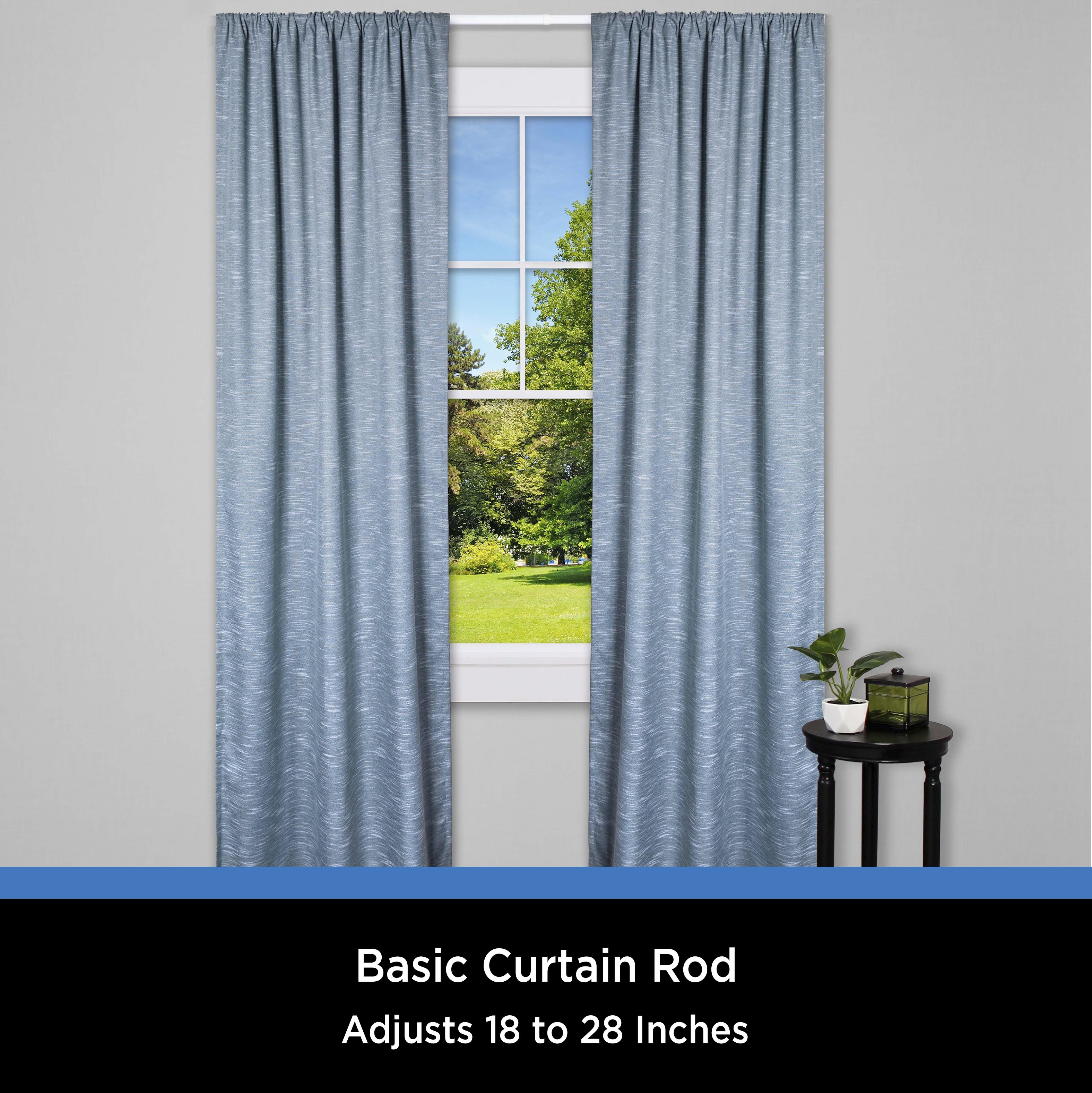 mainstays 18 28 in basic adjustable curtain rod 2 in clearance