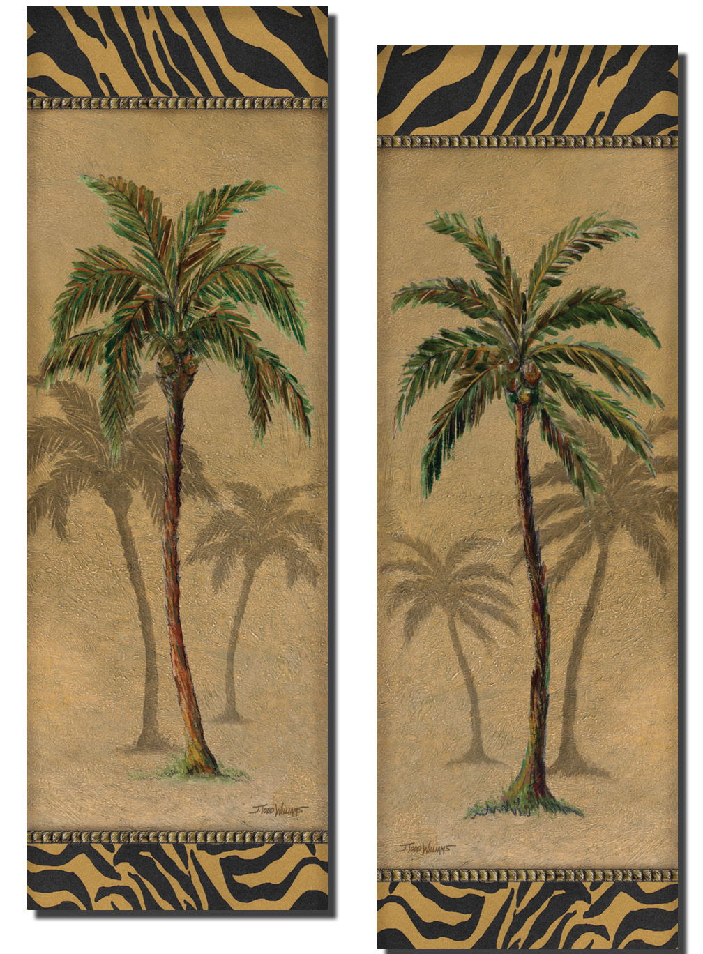 popular animal print bordered palm tree poster panels two 6x18in poster prints