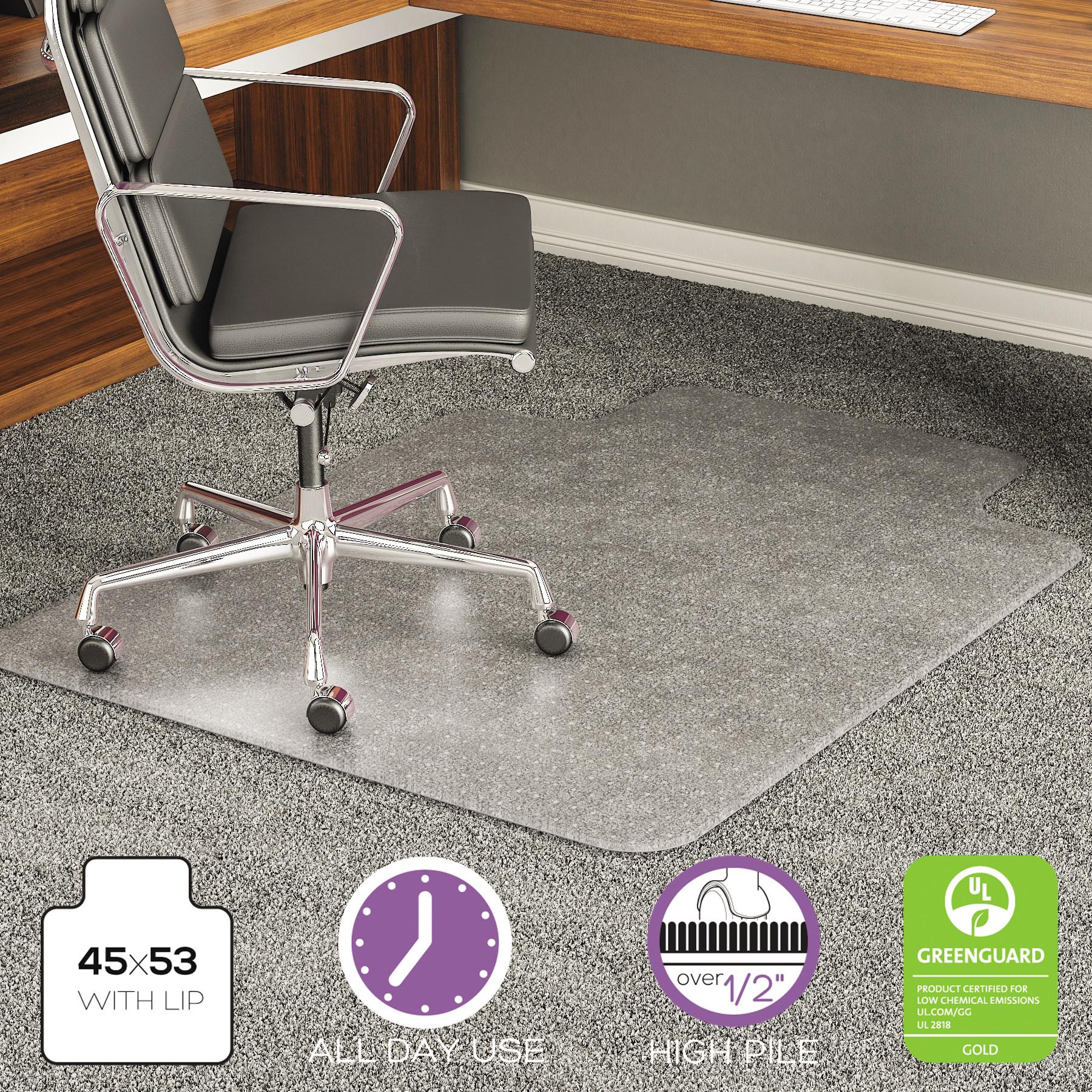desk chair mat for high pile carpet cover rentals boston deflecto execumat 45 x 53 rectangular with lip walmart com
