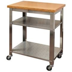 Kitchen Work Tables How Much To Remodel A Seville Classics Stainless Steel Table Cart With Bamboo Top Walmart Com