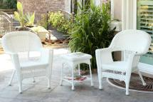 3-piece white resin wicker patio