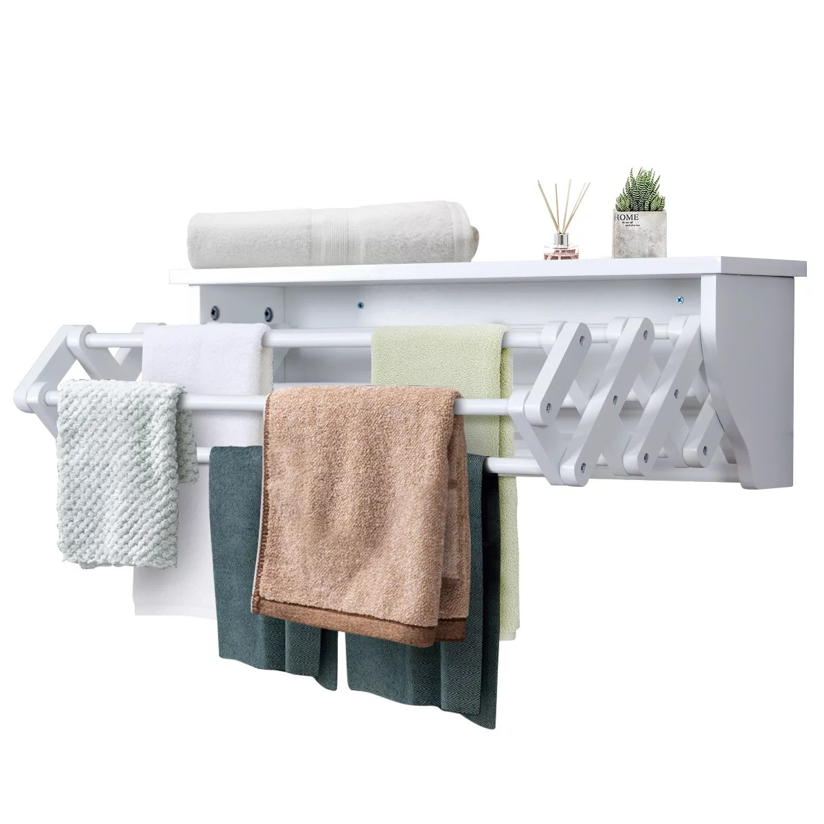 costway wall mounted drying rack folding clothes towel laundry room storage shelf white