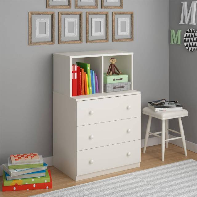 Ameriwood Home Skyler 3 Drawer Dresser with Cubbies White