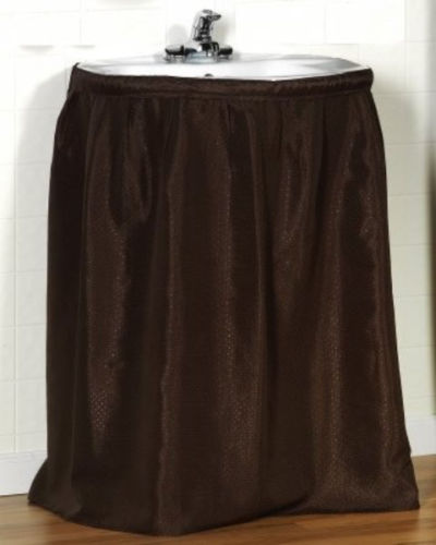 mosaic fabric self stick sink skirt brown