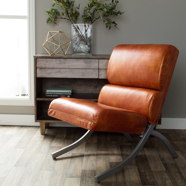 modern leather accent chairs fold away dining table and rust colored faux chair beautiful waiting or living r walmart com