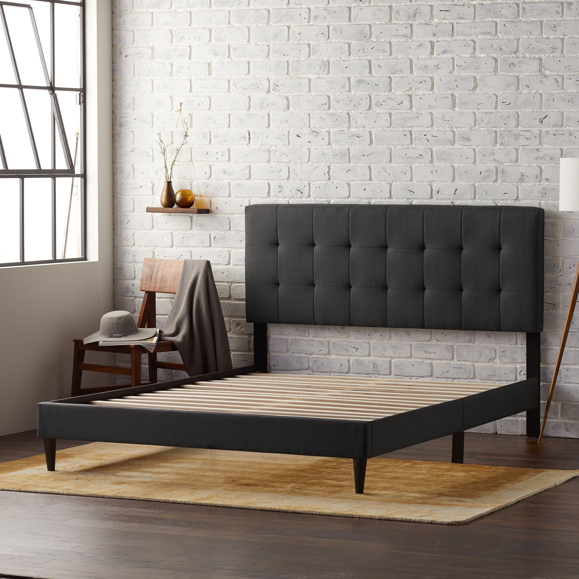 Rest Haven Upholstered Platform Bed Frame With Square Tufted Headboard Queen Charcoal Walmart Com Walmart Com