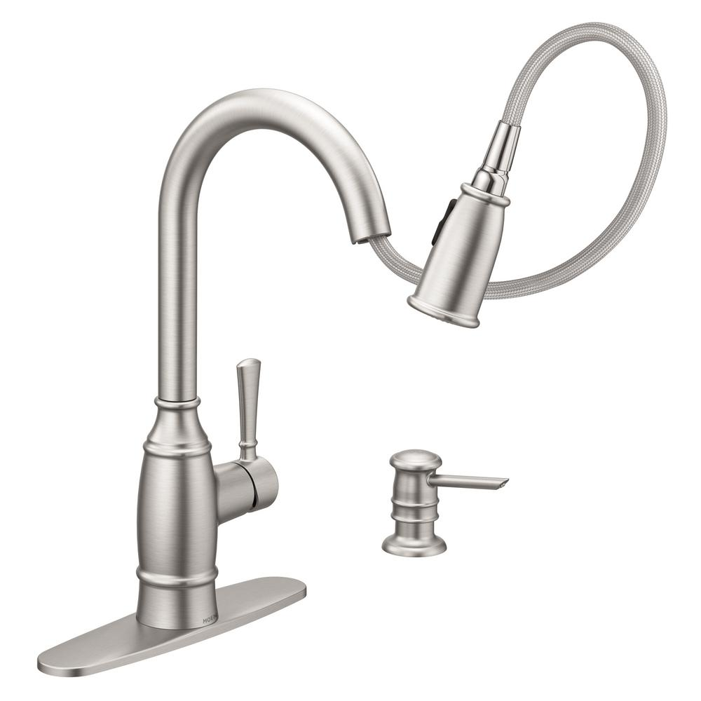moen noell single handle pull down sprayer kitchen faucet with reflex and power clean spot resistant stainless new open box