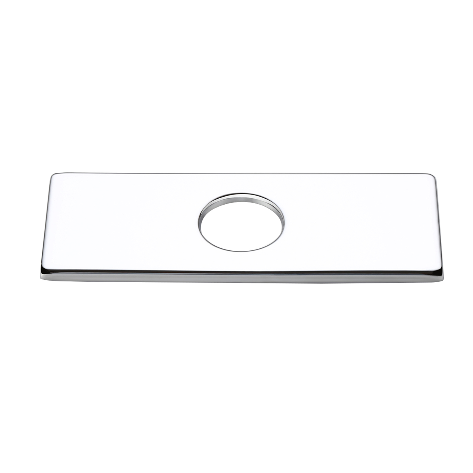 4 inches stainless steel rectangular escutcheon plate bathroom vanity sink faucet hole cover deck plate polished chrome