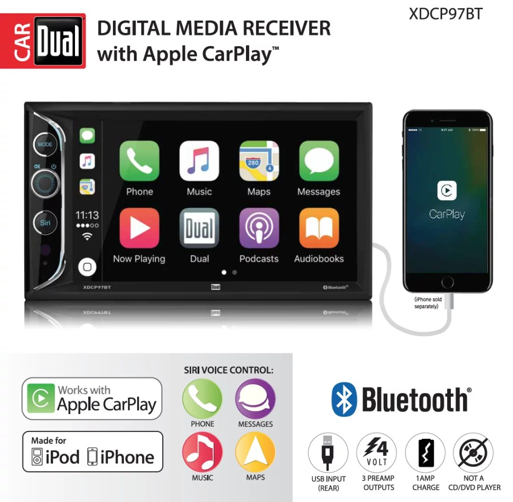 medium resolution of dual electronics xdcp97bt 6 2 inch led backlit lcd digital multimedia touch screen double din car stereo with built in apple carplay bluetooth usb port