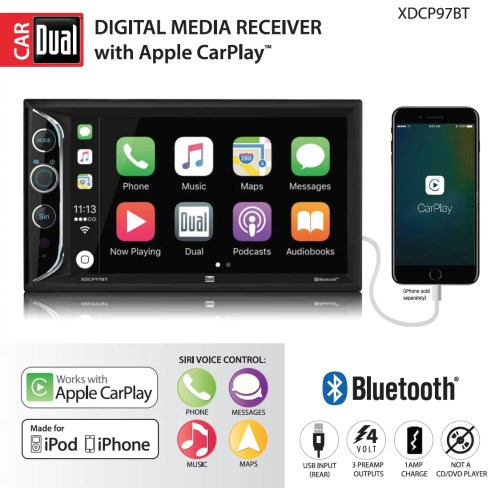 small resolution of dual electronics xdcp97bt 6 2 inch led backlit lcd digital multimedia touch screen double din car stereo with built in apple carplay bluetooth usb port